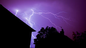 forked-lightning-strike-thunder-storm-over-house-roof- & Lighting Strikes- How to Protect My House My Things and My Self ...